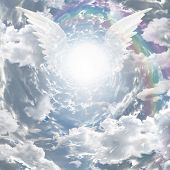 stock photo of gates heaven  - Angelic presence in tunnel of light - JPG
