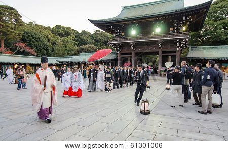 Tokyo, Japan-nov 20 :a Japanese Wedding Ceremony At Shrine
