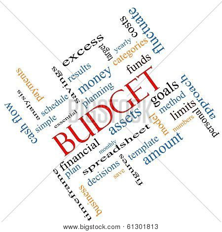 Budget Word Cloud Concept Angled