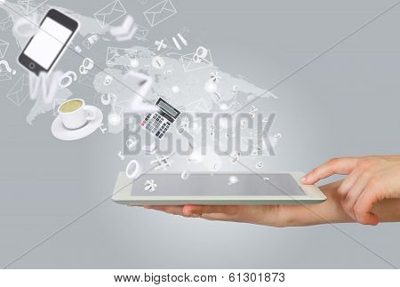 Hands holding tablet pc. Office work concept