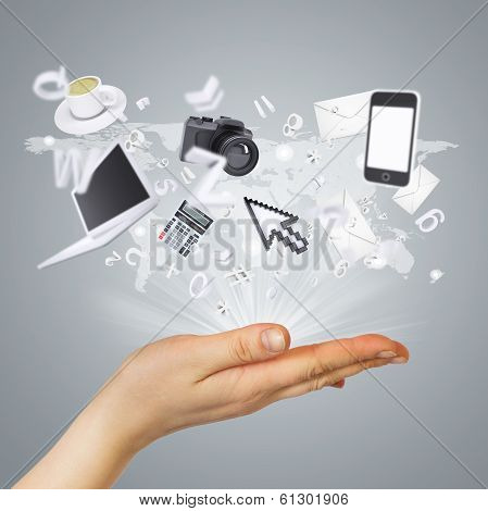 Hand and electronics