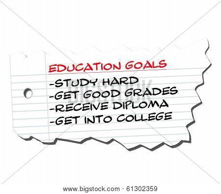 Education Goals On Ripped Paper