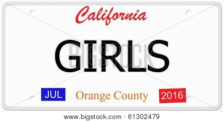 California Girls License Plate