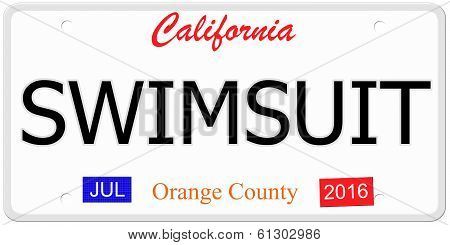 Swimsuit License Plate