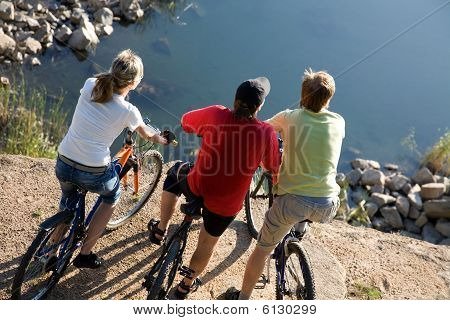Three Bicyclists