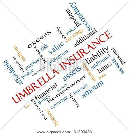 Umbrella Insurance Word Cloud Concept Angled