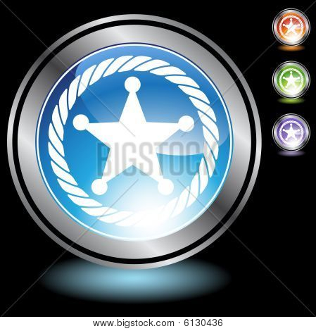 Sheriff Rope Badge Icon chrome