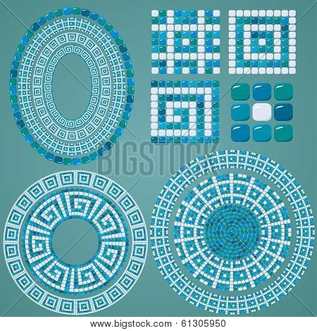 Set Of Mosaic Patterns - Blue Ceramic Oval And Round Frames - Classic Geometric Ornaments
