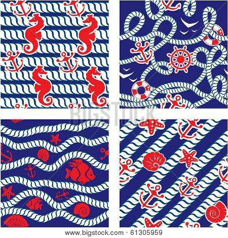Set Of Seamless Nautical Patterns On Blue Background With Rope, Sea Horses, Fishes, Sea Stars, Ancho