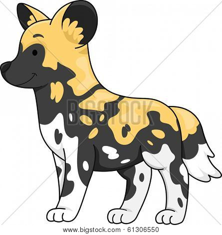 Illustration of a Cute African Wild Dog Standing at Attention