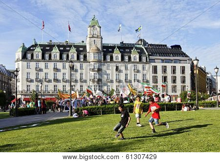 OSLO, NORWAY - JULY 09. Grand Hotel in Oslo City, people this side on July 09, 2010 in Oslo, Norway.