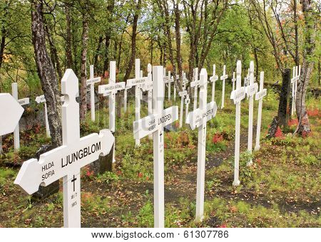 LAPLAND, SWEDEN - SEPTEMBER 01. A cemetery, in memorial on September 01, 2009 in Lapland, Sweden.