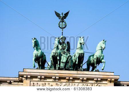 The Quadriga On Top Of The Brandenburg Gate, Berlin