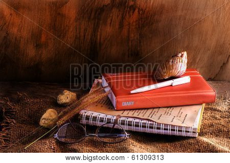 Vintage Still Life With Shell And Pen On Old Book Diary Near Glasses