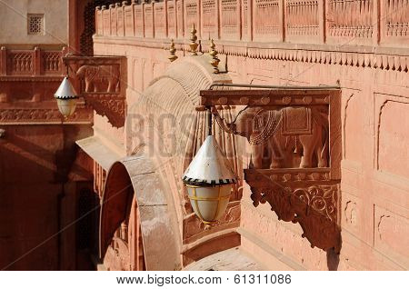 Richly Decorated Facade Of A Building In India