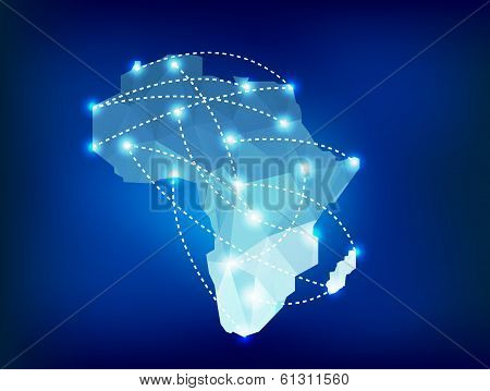 Africa Map Polygonal With Spot Lights Places