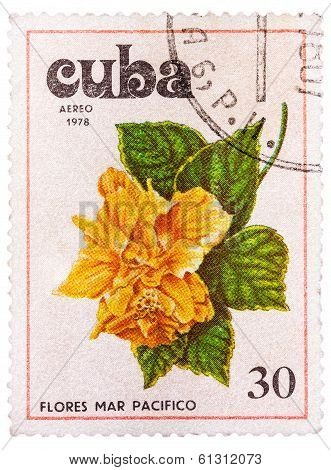 Stamp Printed In Cuba Shows Image Tues Flowers Pacifist