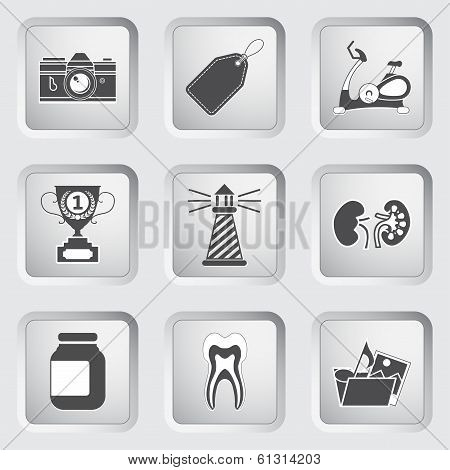 Icons on the buttons for Web Design. Set 9