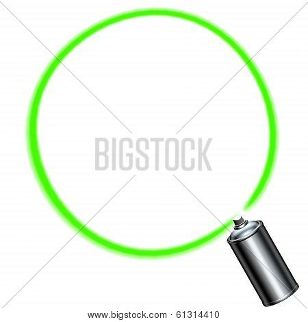 Spray Can Spraying A Green Circle On White