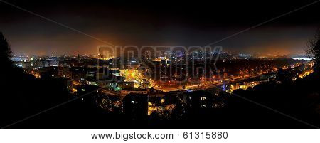 City Nightscape Of Cluj Napoca, Romania