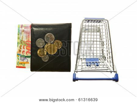 Shopping cart and wallet and Israeli shekels