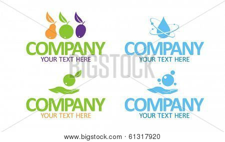 Eco product vector symbols for food and cleansing