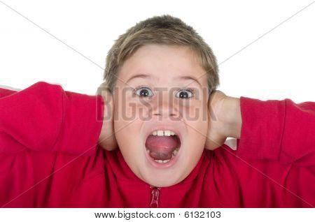 Little Boy Covers Ears