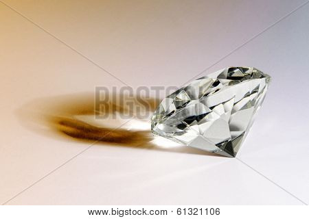 Faceted Gemstone Or Diamond With Shadow