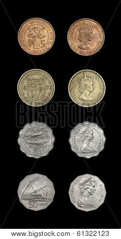 Set of coins with image of Queen Elizabeth II