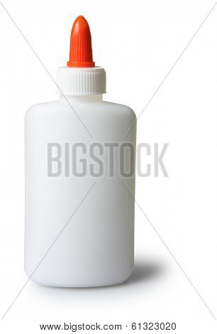 white glue bottle with orange cap on white background