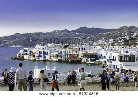 Tourists In Myconos