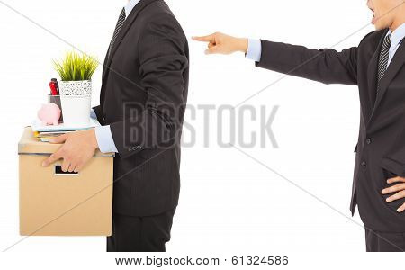 Boss Dismisses Employee . Isolated On White Background
