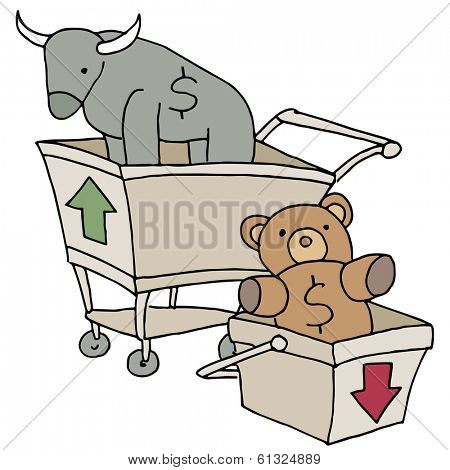An image of bull and bear shopping carts.
