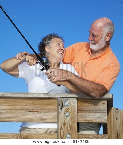 Senior Couple Fishing Together
