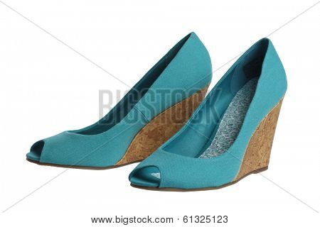 Blue womens shoes on white background