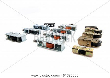 Group Of Industrial Wheels Over Isolated White Background.