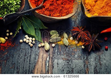 Spices and herbs over Wood. Food and cuisine ingredients.