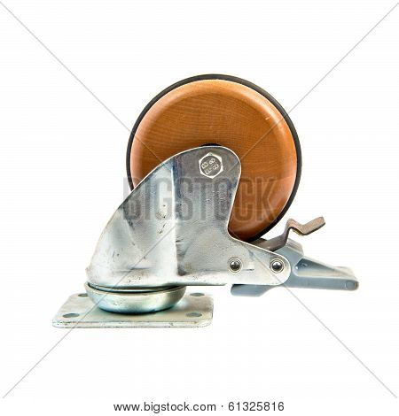 Industrial Plastic Wheel Over Isolated White Background.