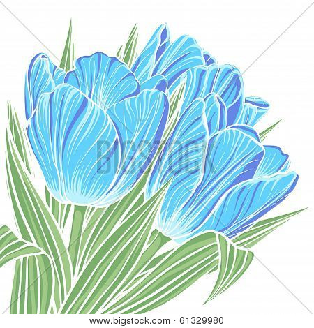 Floral background with flowers of tulips
