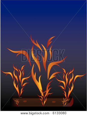 Blazing log at night illustration.
