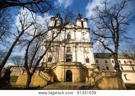 KRAKOW, POLAND - FEB 17, 2014: View of the Church of St. Stanislaus Bishop. In 1733-1751 the church received a baroque decor. It is one of the most famous Polish sanctuaries.