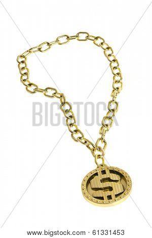 Gold Dollar Sign Bling Necklace