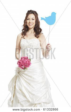 Bride Wearing Wedding Dress Holding A Social Media Sign