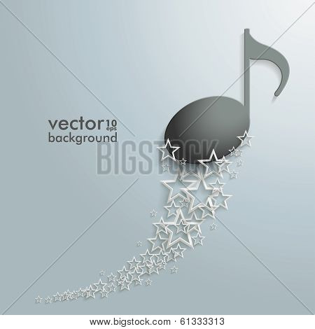 White Stars Dust Black Music Note