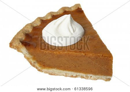 piece of pumpkin pie on white