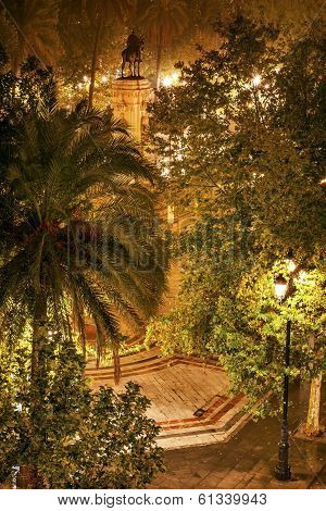 Plaza Nueva Ferdinand Statue Rainy Night Seville Spain