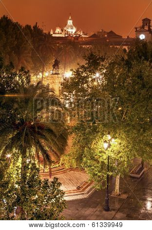 Plaza Nueva Ferdinand Statue Rainy Night Church El Salvador Seville Spain