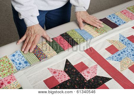 Arranging Fabric For Piano Key Border.