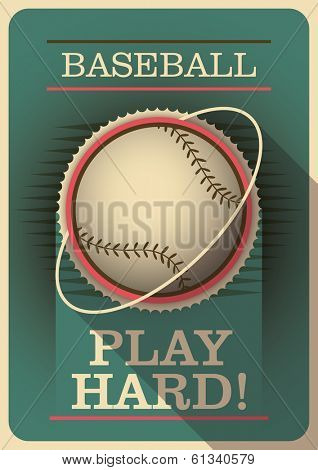 Baseball poster with retro design. Vector illustration.