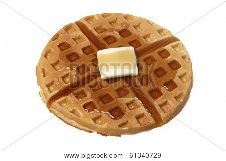 Belgian waffle with butter and syrup on white